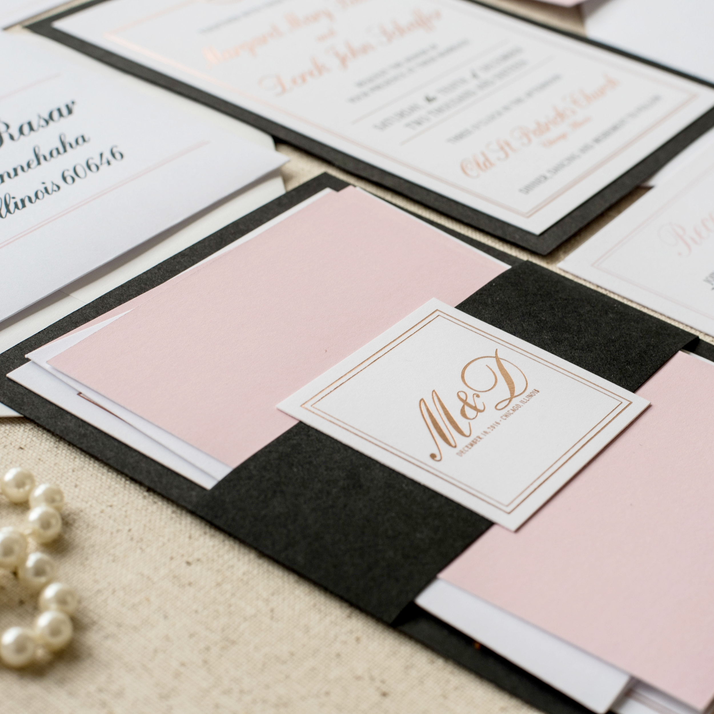 Felicity Wedding Invitation by Ashley Parker Creative.  An elegant, traditional feminine invite in Rose Gold Foil, Blush, Black and White with envelope addressing, liner and bellyband. (Assembly)