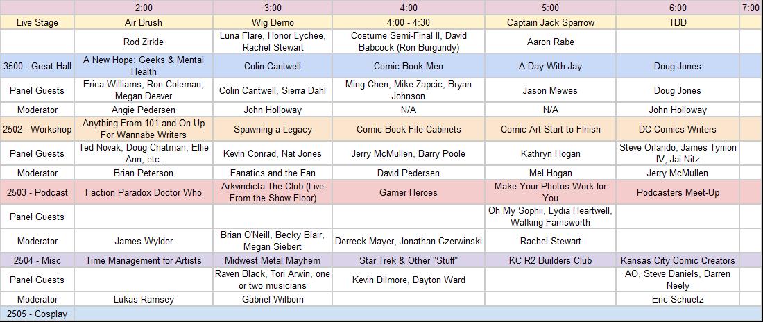 Friday November 10th Panels at Kansas City Comic Con