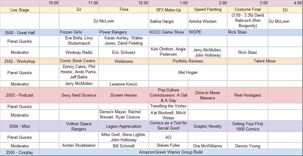 Sunday, November 12th Panels at Kansas City Comic Con
