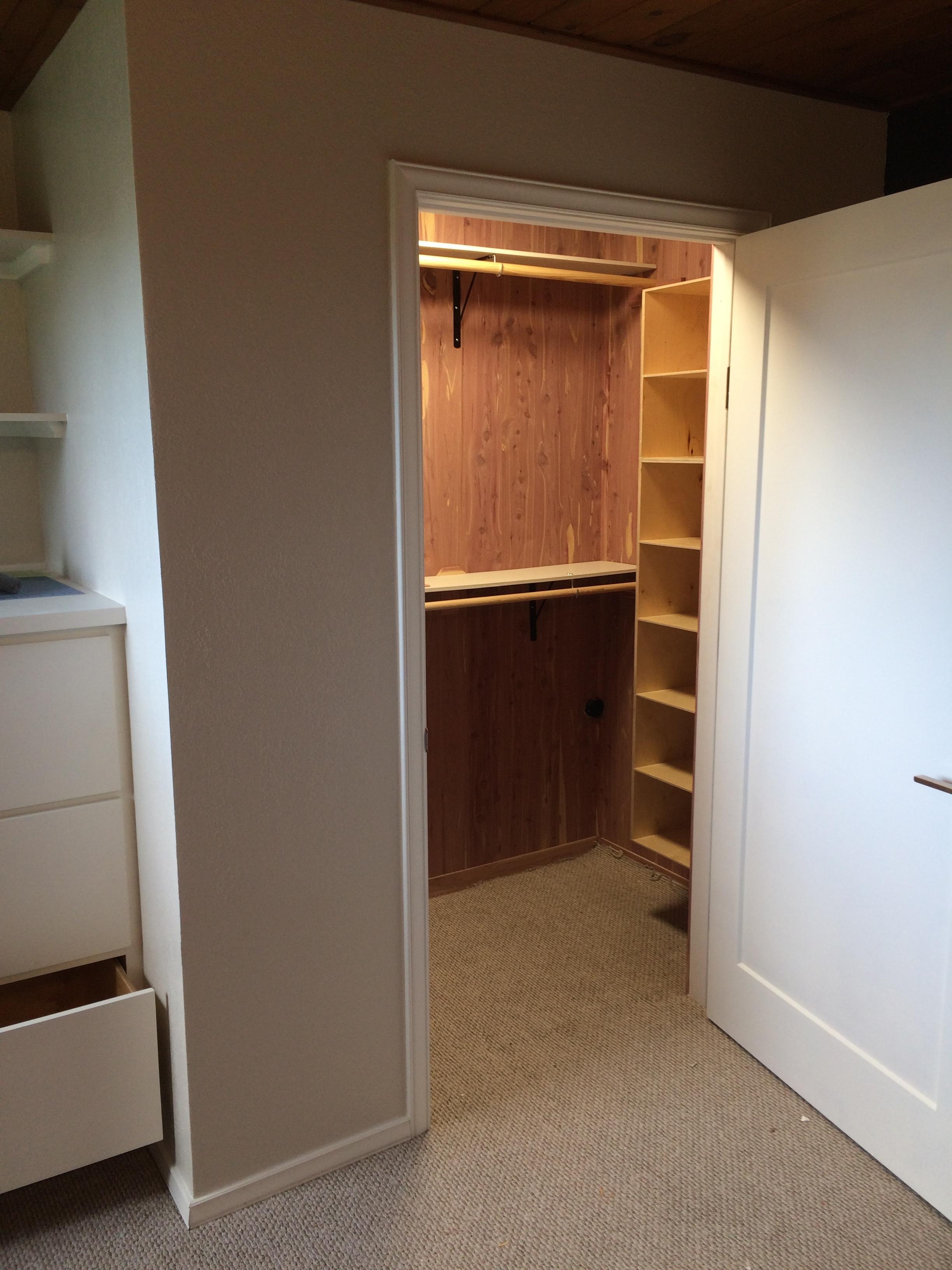 Cedar lined closet with cubbies