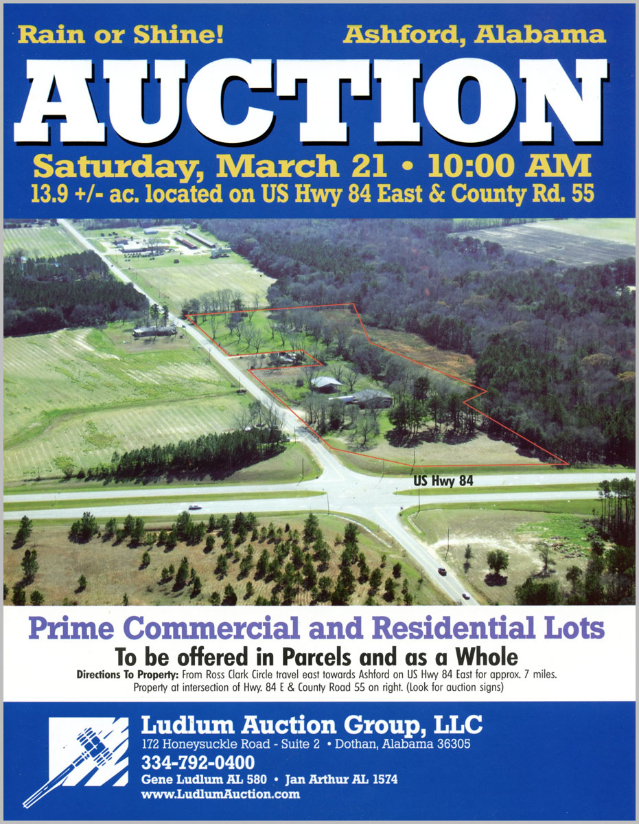 Ashford , AL Auction arial photo