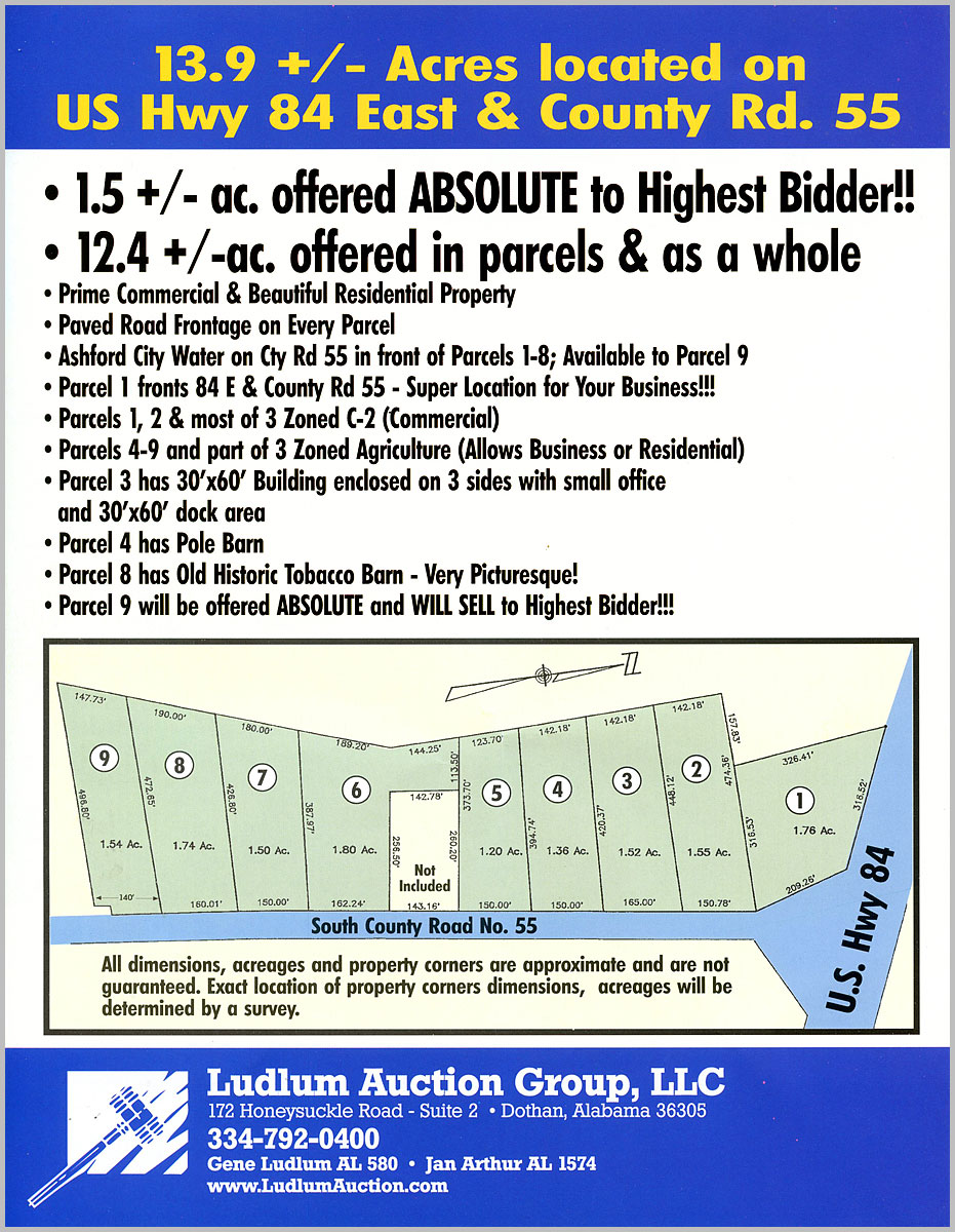 Ashford, AL Auction parcel map