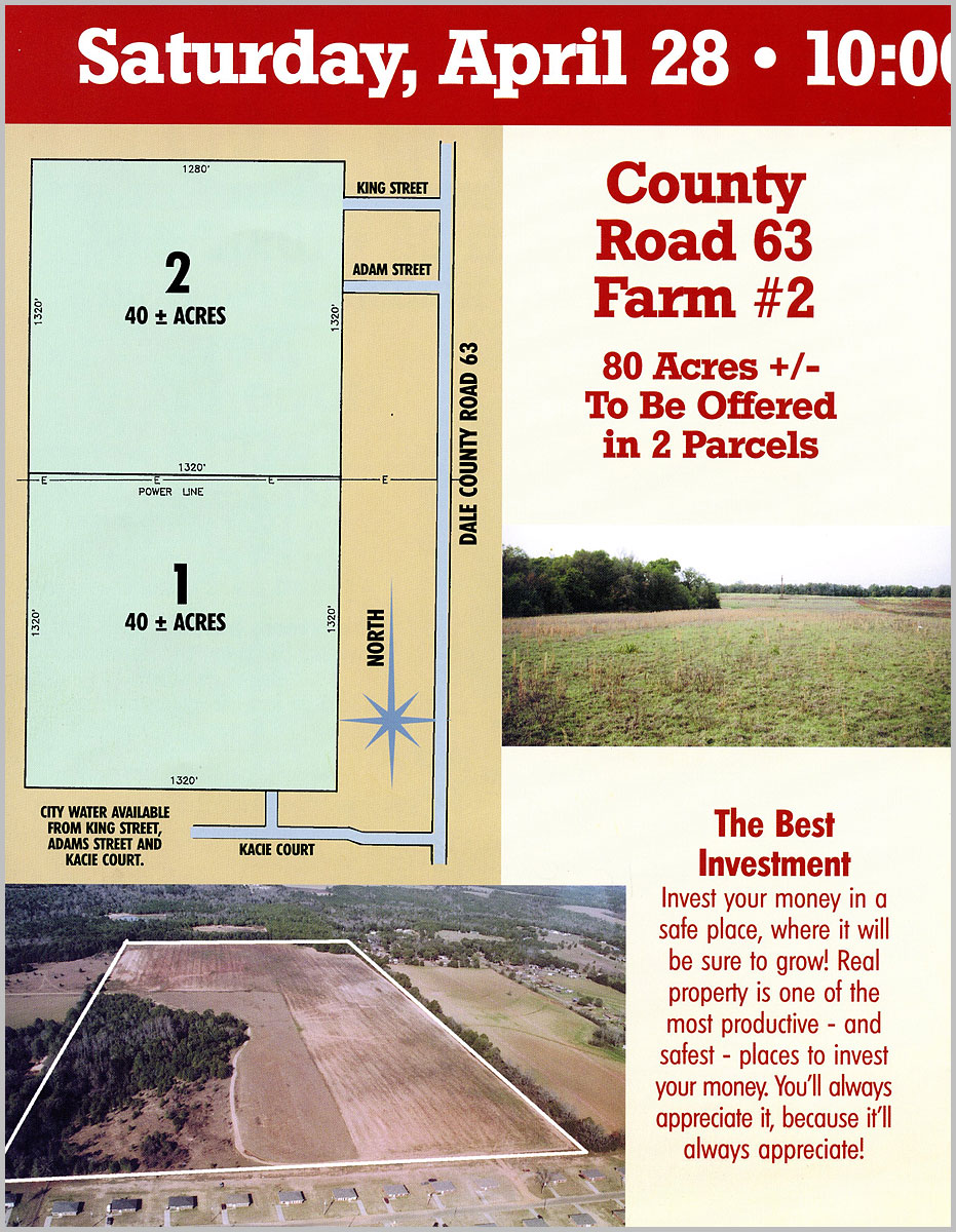MIdland City, AL Auction parcel map with ground and aerial photos