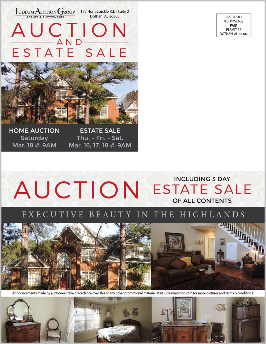 Dothan Highlands, AL Estate Auction mailer