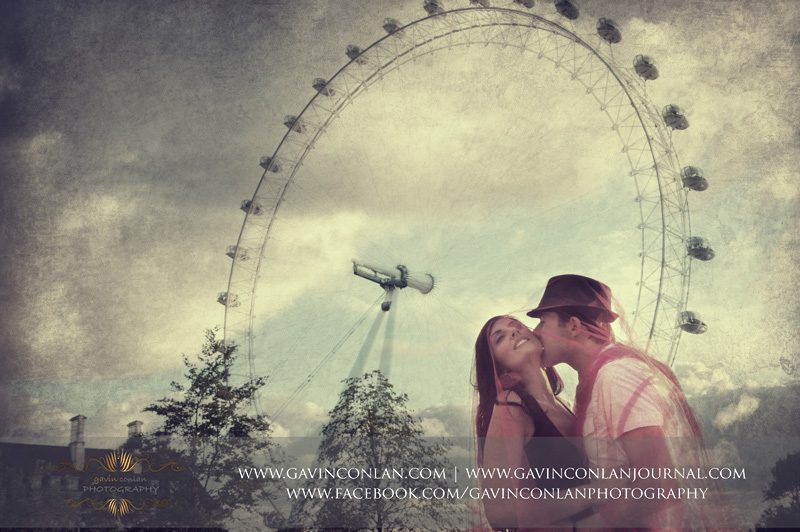 beautiful fine art couple portrait with the London Eye in the background. London engagement photography by  gavin conlan photography Ltd