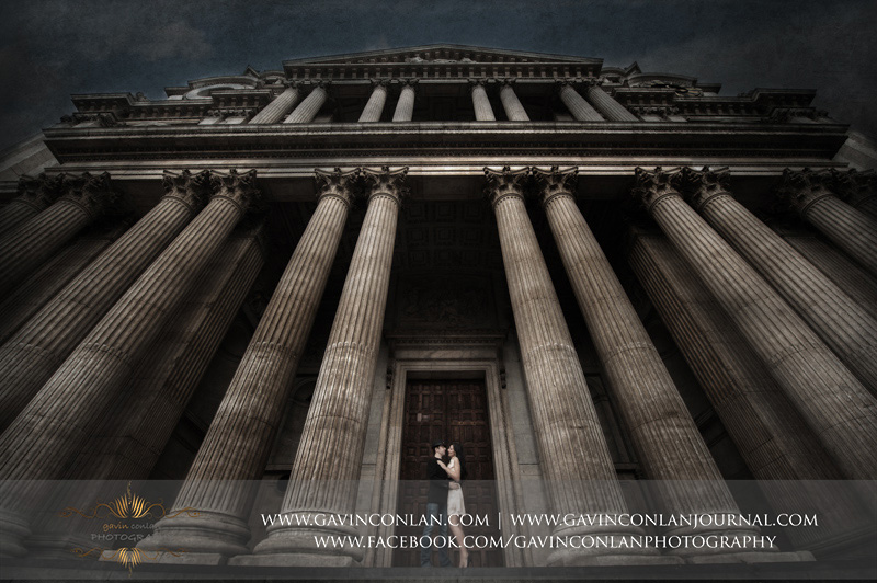 creative fine art portrait of the couple outside St Pauls Cathedral. London engagement photography by  gavin conlan photography Ltd