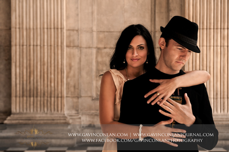 beautiful romantic portrait at St Pauls Cathedral. London engagement photography by  gavin conlan photography Ltd