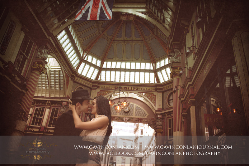 stunning couple portrait at Leadenhall Market. London engagement photography by  gavin conlan photography Ltd