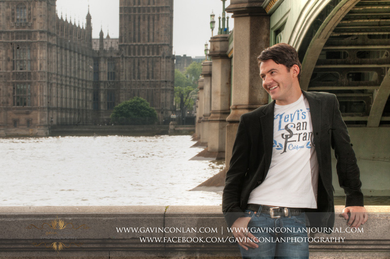 fashion male portrait with Houses of Parliament in the background. London engagement photography by  gavin conlan photography Ltd