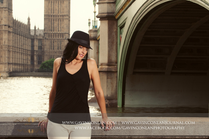 fashion female portrait with Houses of Parliament in the background. London engagement photography by  gavin conlan photography Ltd