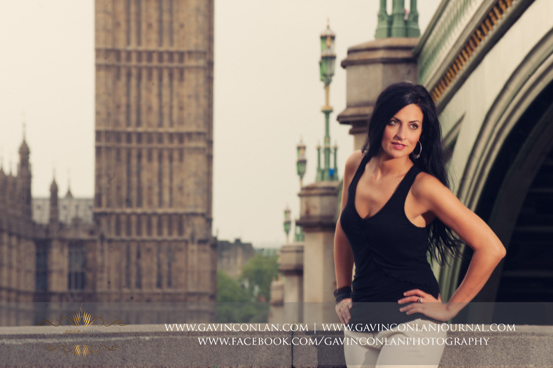 fashion female portrait with Houses of Parliament in the background.London engagement photography by gavin conlan photography Ltd
