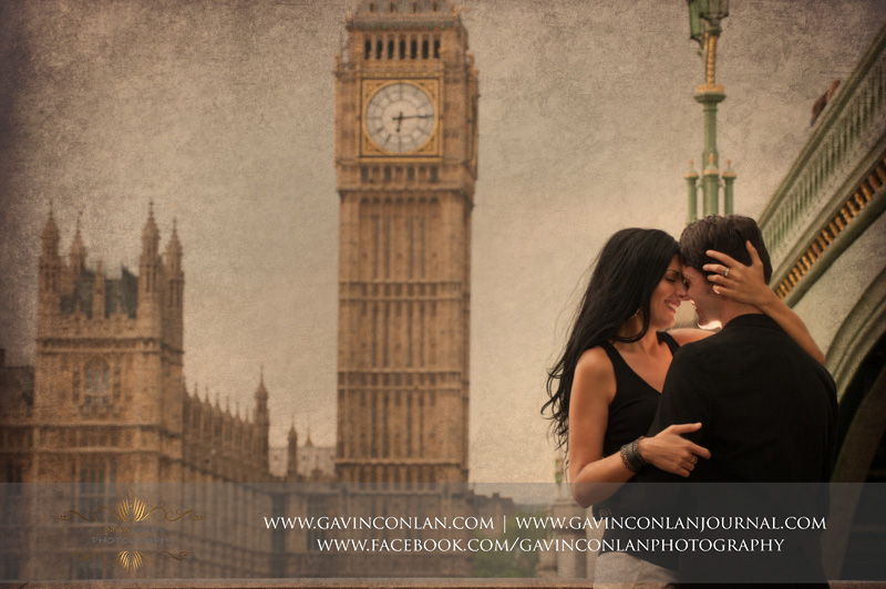 creative fine art couple portrait with Houses of Parliament in the background. London engagement photography by  gavin conlan photography Ltd