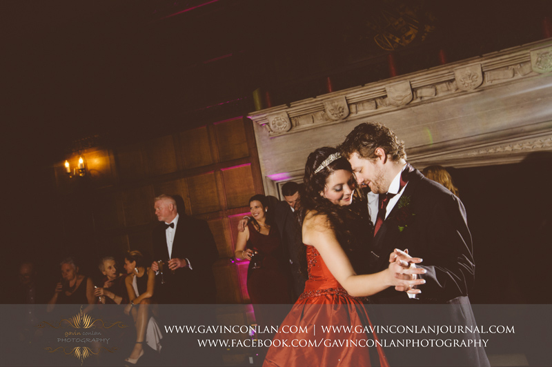 intimate portrait of the bride and groom during their first dance. Wedding photography at Hengrave Hall by gavin conlan photography Ltd