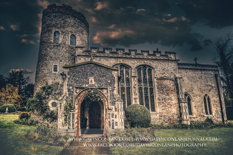 creative exterior photograph of the Church at Hengrave Hall.Wedding photography at Hengrave Hall by gavin conlan photography Ltd