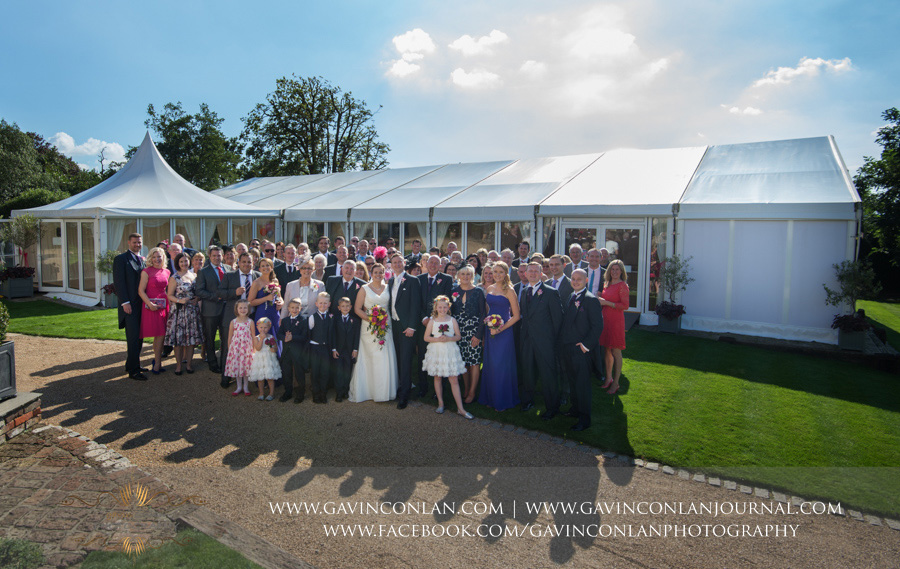 all wedding guest group photograph.Wedding photography at Moor Hall Venue by gavin conlan photography Ltd