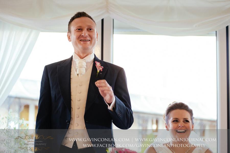groom giving his speech.Wedding photography at Moor Hall Venue by gavin conlan photography Ltd