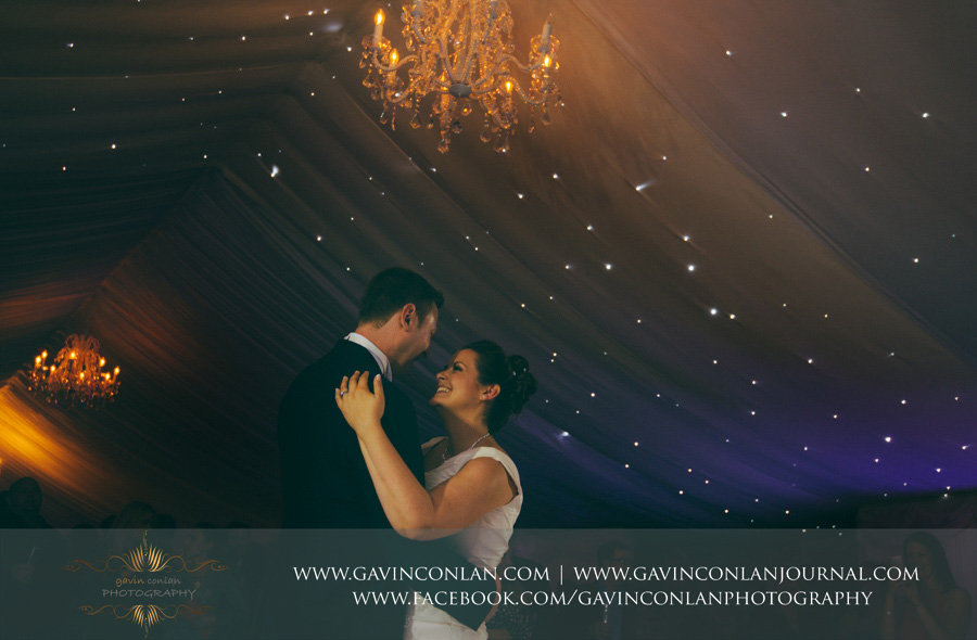 bride and groom having their first dance.Wedding photography at Moor Hall Venue by gavin conlan photography Ltd