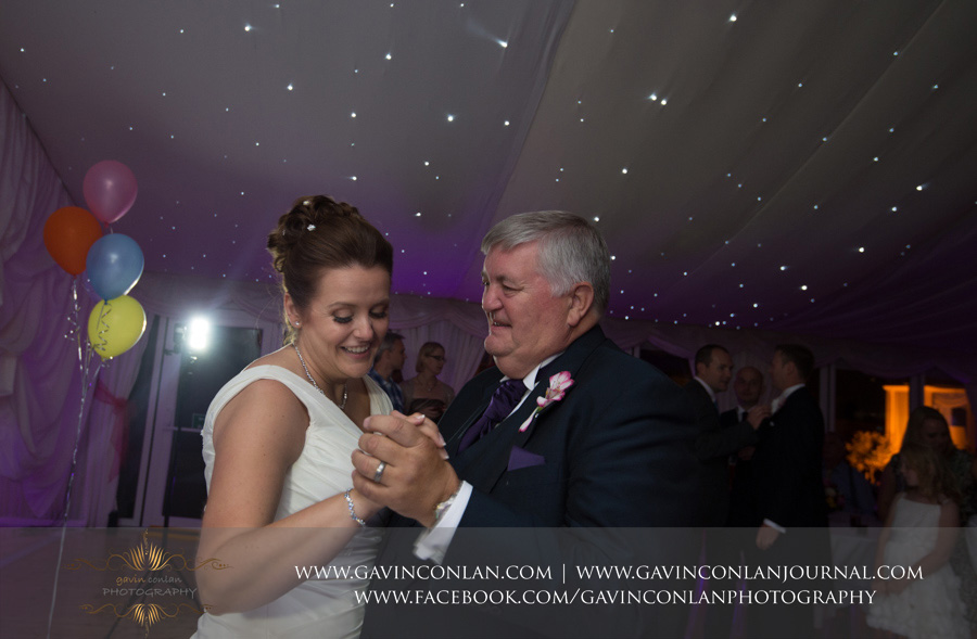 bride dancing with her father.Wedding photography at Moor Hall Venue by gavin conlan photography Ltd