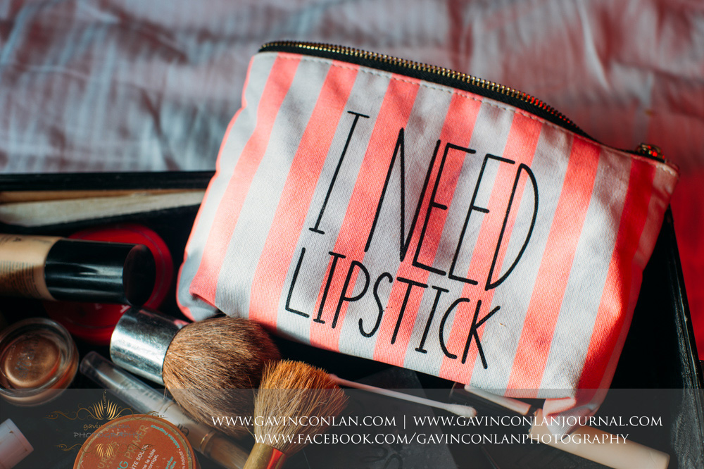 I need lipstick bag - bridal make up bag. Wedding photography at  The Essex Golf and Country Club  by  gavin conlan photography Ltd