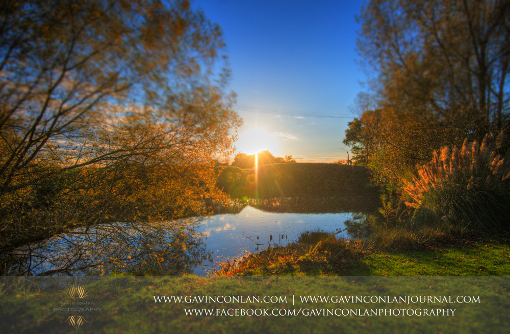 beautiful sunset over the gorgeous setting of Crabbs Barn. Wedding photography at  Crabbs Barn  by  gavin conlan photography Ltd