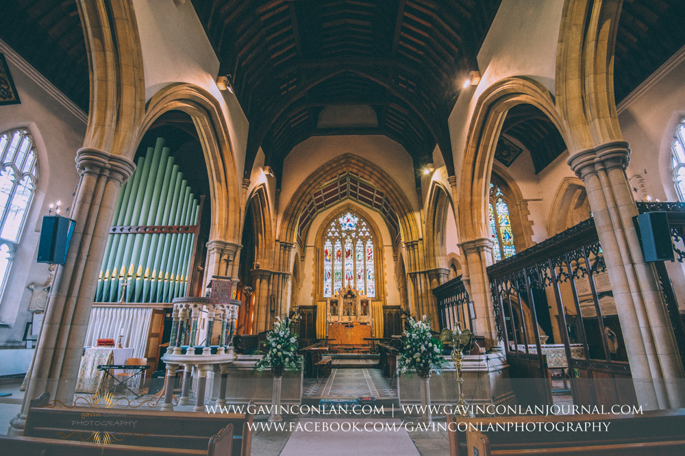 wide angle shot of the beautiful interior of the gorgeous  All Saints Church in Marlow  by  gavin conlan photography Ltd