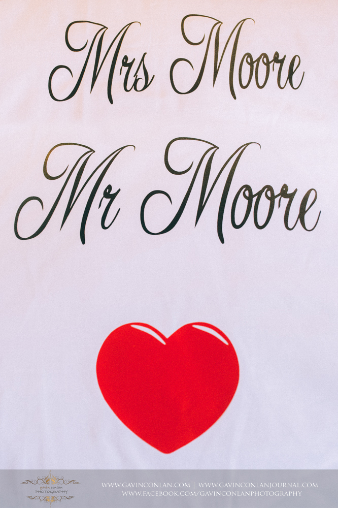 creative fun shot showing the names of Mr and Mrs Moore by  gavin conlan photography Ltd