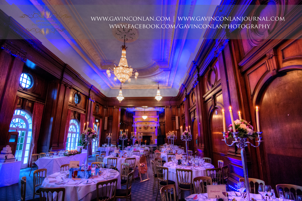 Interior shot of the Ballroom all set up for their wedding, wedding photography at  Heatherden Hall Pinewood Studios  by  gavin conlan photography Ltd