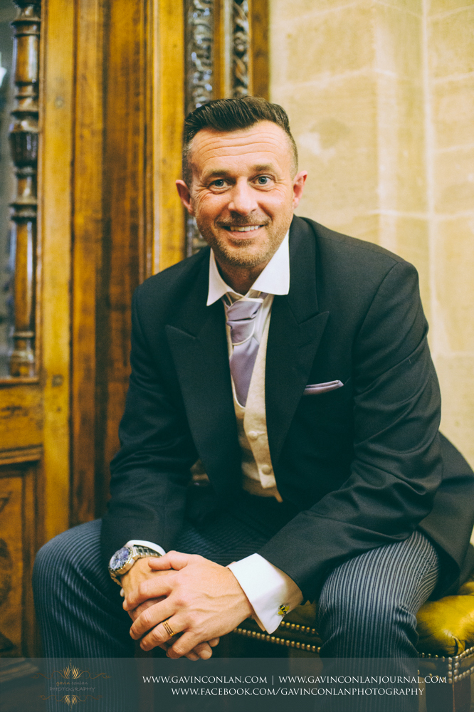 groom portrait, wedding photography at  Heatherden Hall Pinewood Studios  by  gavin conlan photography Ltd