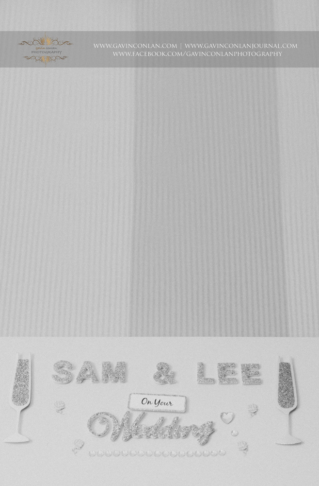 black and white detail shot of the Samantha and Lee's beautiful table plan. Wedding photography at  The SPA Hotel  by  gavin conlan photography Ltd