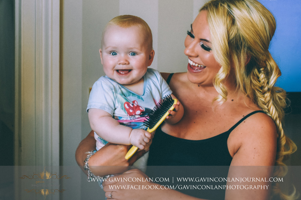 family portrait of the bride and her daughter looking so happy together. Wedding photography at  The SPA Hotel  by  gavin conlan photography Ltd
