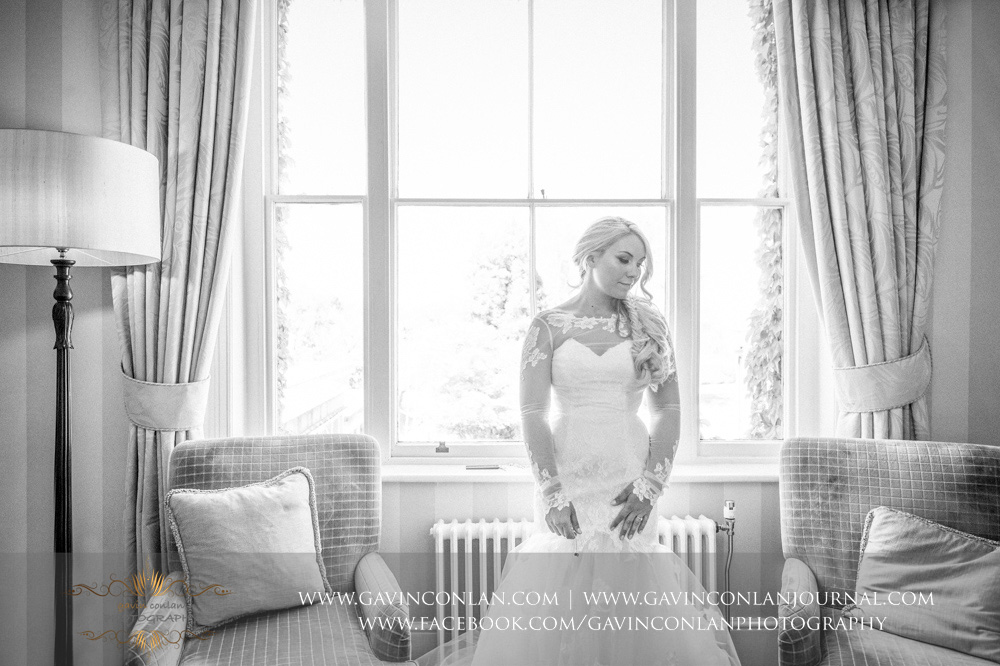 black and white creative portrait of the bride in her wedding dress. Wedding photography at  The SPA Hotel  by  gavin conlan photography Ltd