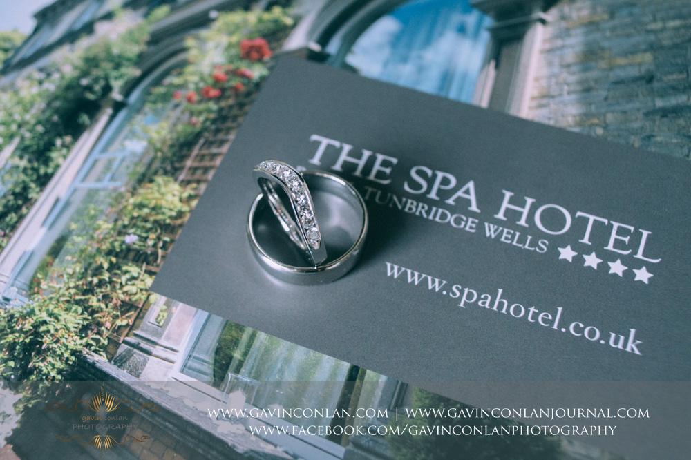 creative detail shot of theirwedding rings displayed on the SPA Hotel magazine . Wedding photography at  The SPA Hotel  by  gavin conlan photography Ltd