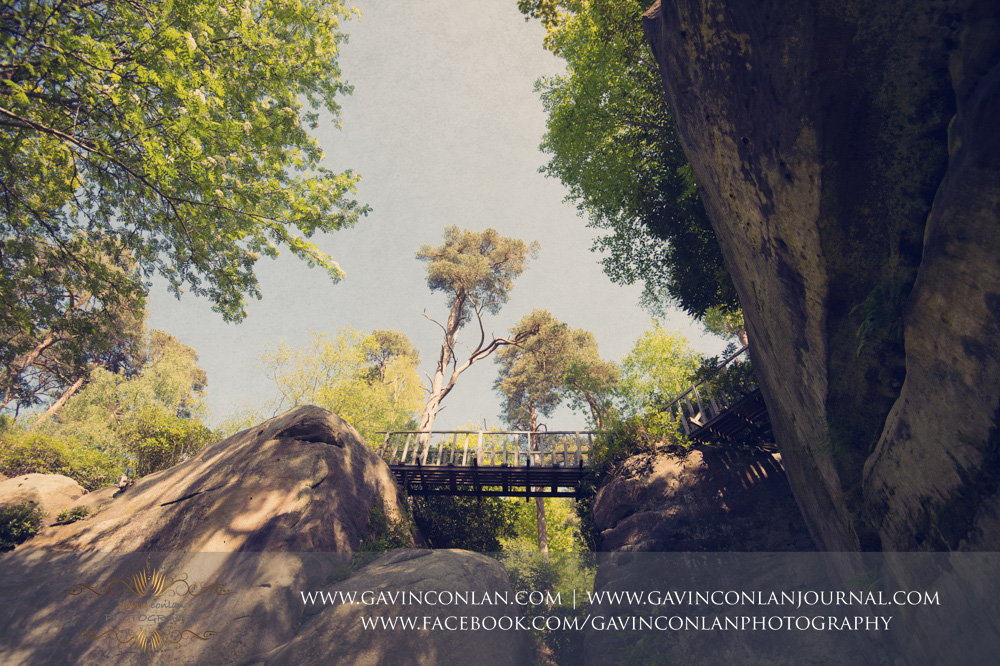 creative landscape of one of the bridges in the grounds of The Rocks.Wedding photography at  High Rocks  by preferred supplier gavin conlan photography Ltd