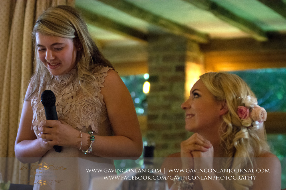 portrait of the brides sister herbridesmaid duringherspeech.Wedding photography at  High Rocks  by preferred supplier gavin conlan photography Ltd