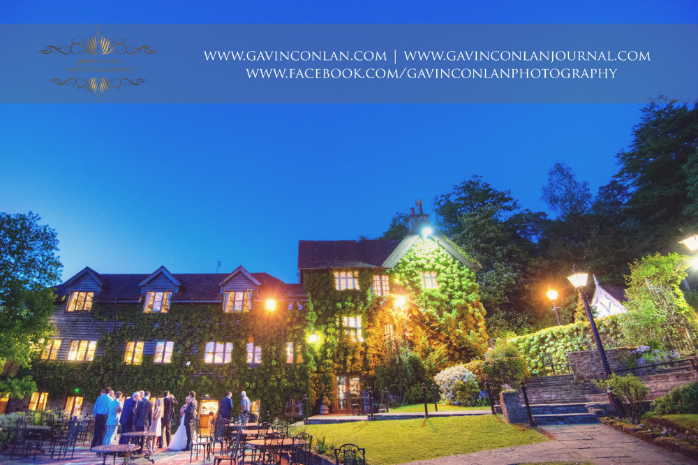 a night time landscape showcasing High Rocks from the view of the garden.Wedding photography at  High Rocks  by preferred supplier gavin conlan photography Ltd