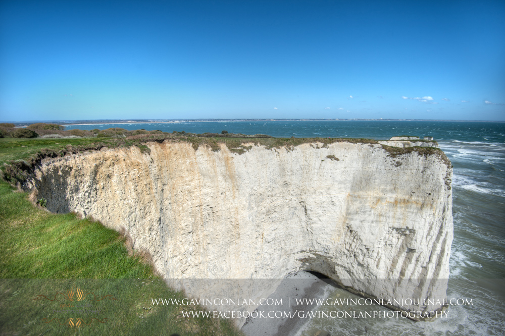 fine art landscape showcasing the chalk ridge and the Solent at  Old Harry Rocks .Victoria and James Engagement Session in Bournemouth, Dorset by gavin conlan photography Ltd