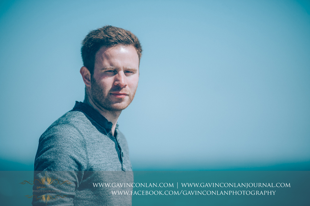 portrait of James at  Old Harry Rocks . Victoria and James Engagement Session in Bournemouth, Dorset by gavin conlan photography Ltd