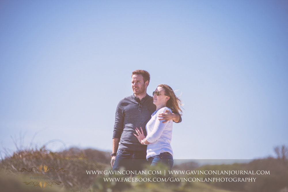 portrait of Victoria and James at  Old Harry Rocks . Engagement Session in Bournemouth, Dorset by  gavin conlan photography Ltd