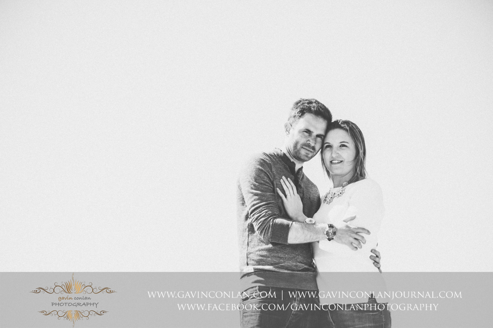 black and white portrait ofVictoria and James at  Old Harry Rocks . Engagement Session in Bournemouth, Dorset by gavin conlan photography Ltd