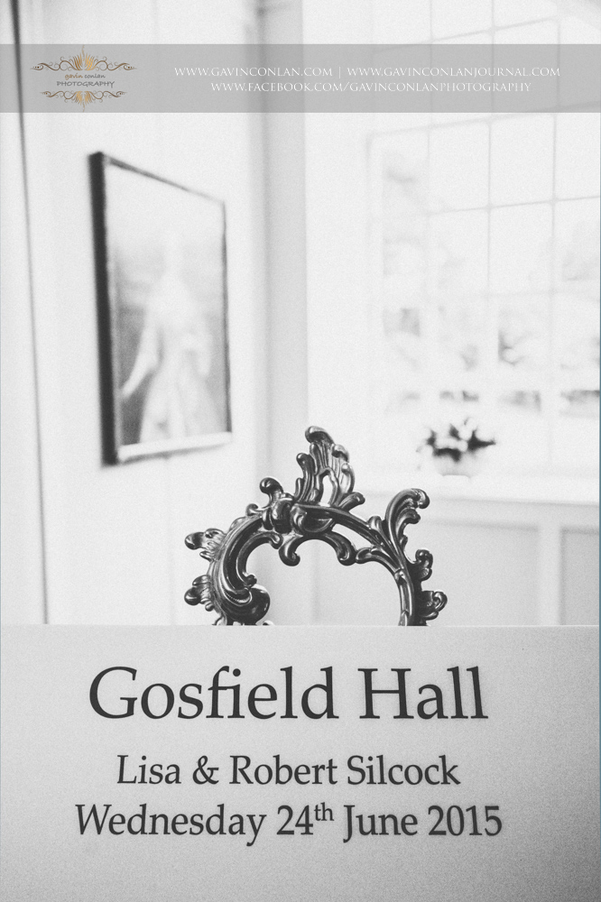 wedding day sign with the following text -Gosfield Hall, Lisa and Robert Silcock, Wednesday 24th June 2015.Wedding photography at  Gosfield Hall  by Essex wedding photographer  gavin conlan photography Ltd
