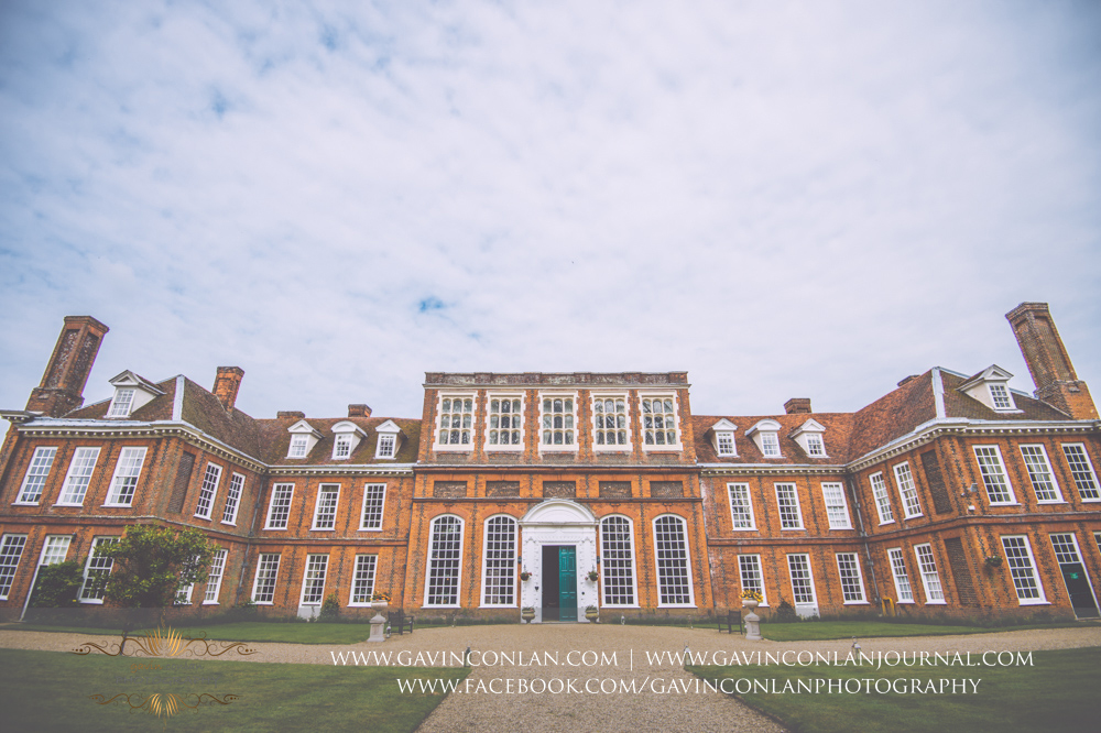 creative landscape of the exterior of the main entrance into Gosfield Hall. Wedding photography at Gosfield Hall by Essex wedding photographer gavin conlan photography Ltd