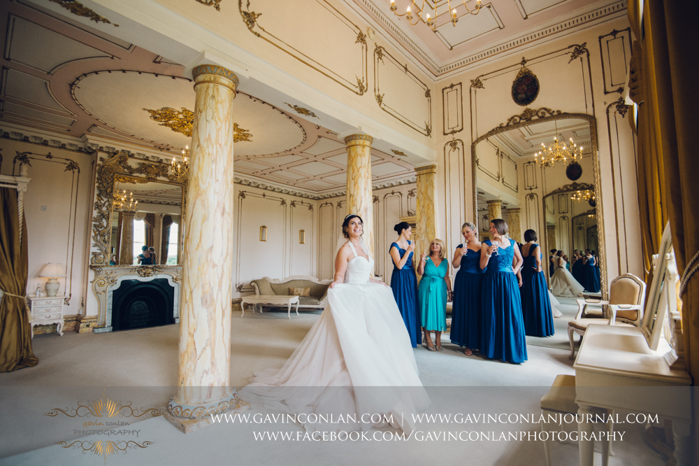 creative and beautiful bridal portrait in The Rococco Suite.Wedding photography at Gosfield Hall by Essex wedding photographer gavin conlan photography Ltd