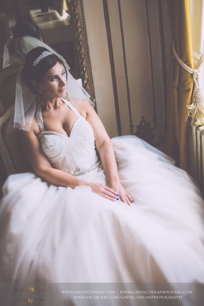 stunning and elegant bridal portrait in The Rococco Suite.Wedding photography at Gosfield Hall by Essex wedding photographer gavin conlan photography Ltd