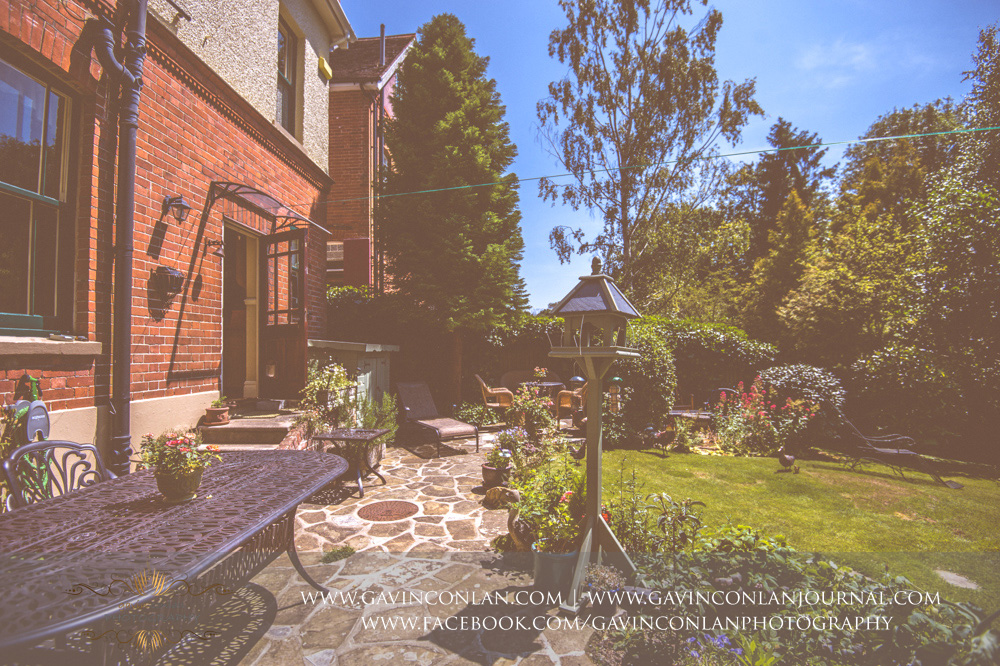 exterior of the beautiful garden of Alconbury Guest House. Wedding photography at  Alconbury Guest House  by  gavin conlan photography Ltd