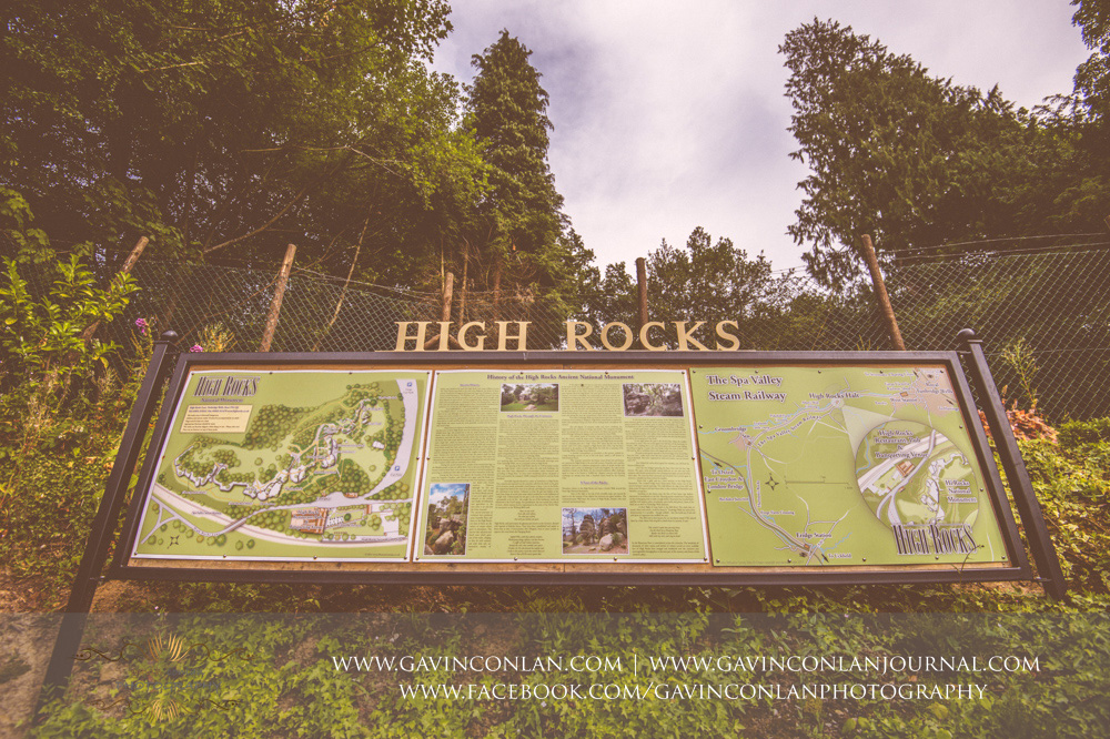 creative landscape portrait showcasing the High Rocks sign and map of The Rocks. Wedding photography at  High Rocks  by preferred supplier  gavin conlan photography Ltd