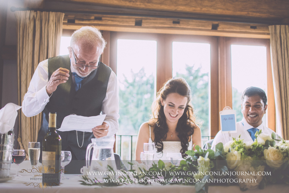 portrait of the father of the bride during his speech in the Presidents Suite of High Rocks. Wedding photography at  High Rocks  by preferred supplier  gavin conlan photography Ltd
