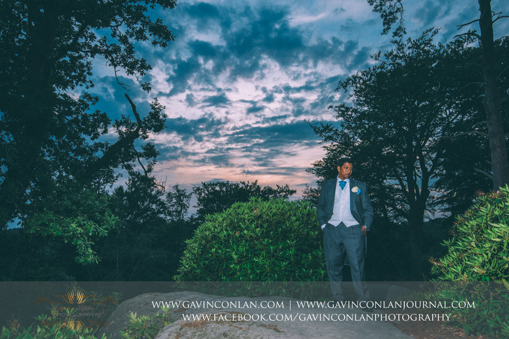 creative groom portrait at the top of the Rocks. Wedding photography at  High Rocks  by preferred supplier  gavin conlan photography Ltd