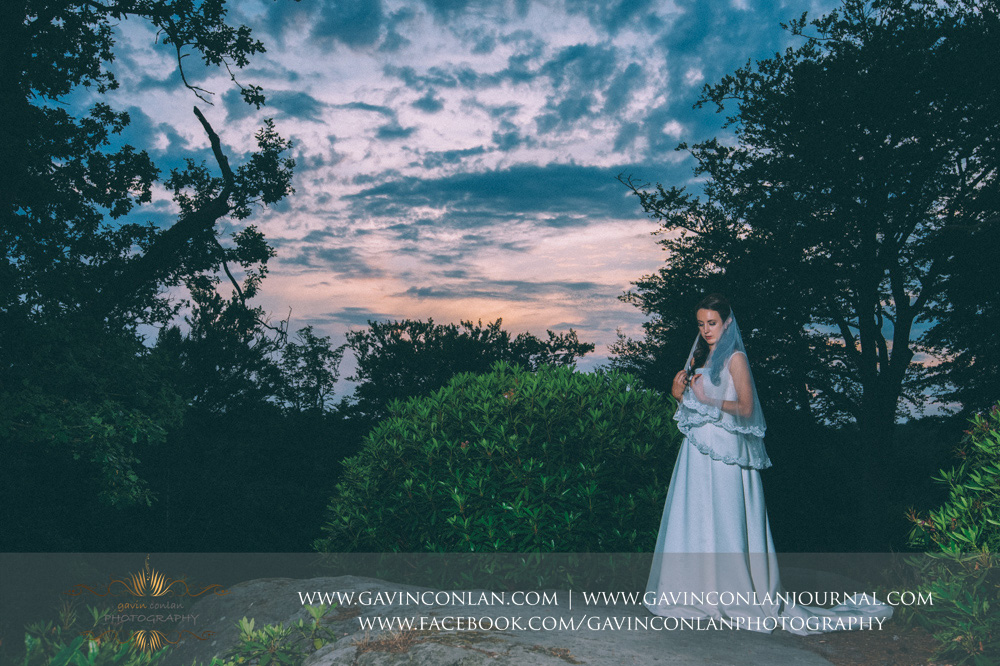 creative bridal fine art portrait at the top of the Rocks. Wedding photography at  High Rocks  by preferred supplier  gavin conlan photography Ltd