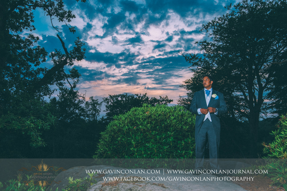 creative fashion portrait of the groom at the top of the Rocks. Wedding photography at  High Rocks  by preferred supplier  gavin conlan photography Ltd