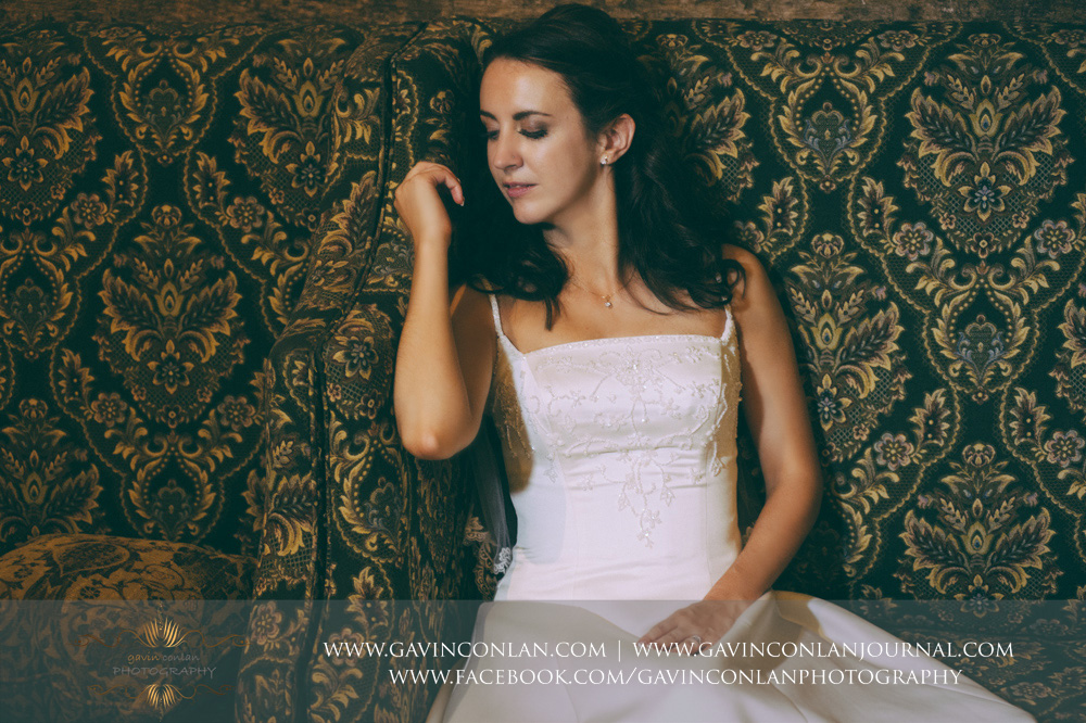 beautiful and emotive fashion bridal portrait taken in the Presidents Suite of High Rocks. Wedding photography at  High Rocks  by preferred supplier  gavin conlan photography Ltd